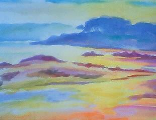 水彩画家・長尾周二・作品写真・ブルターニュ朝の風景
