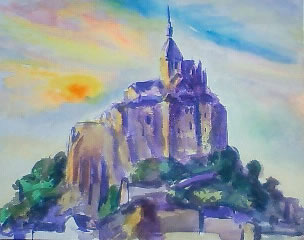 水彩画家・長尾周二の絵画作品写真・モンサンミッシェルの夕景
