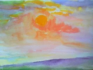 水彩画家・長尾周二・作品「ドーバー海峡の夕陽」写真