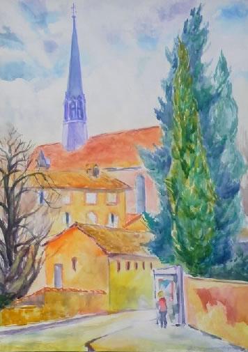 水彩画家・長尾周二・作品「エクスアンプロバンスの教会」の写真