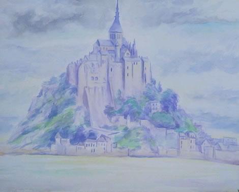 水彩画家・長尾周二・作品「モンサンミッシェル」1206