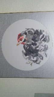水彩画家・長尾周二・作品「シャトーボガールの鶏」