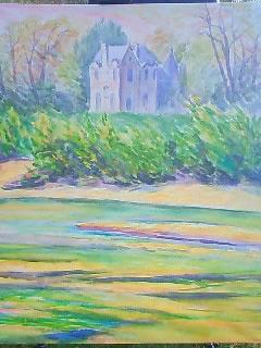 長尾周二・水彩画・ロワール川の対岸からの風景