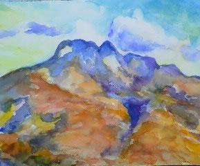 水彩画家・長尾周二・作品「野田池からの五剣山」写真