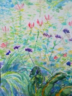 水彩画家・長尾周二・作品「ロワールの花壇の花」写真