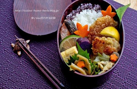 お弁当記録248~塩麹唐揚げと秋鮭の塩焼き弁当~