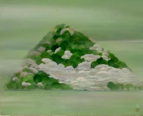 日本画家・柳樂晃里作品・十神山~佐保姫の絹衣