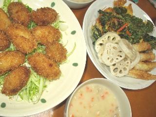 11/23かきフライ夕食