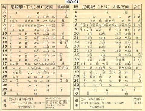 時刻表 、尼崎1980.10