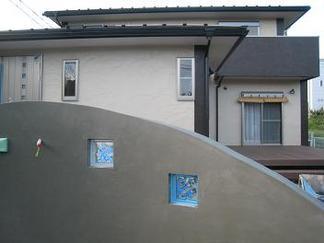 クリアー&ブルーのガラスブロック