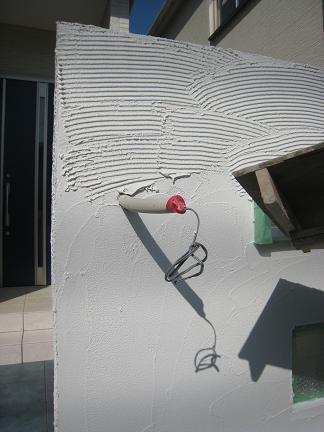 門柱塗壁施工中!