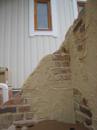 レンガを埋め込んだ壁