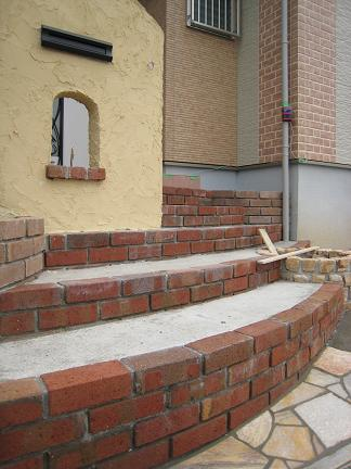 門柱の塗壁作業