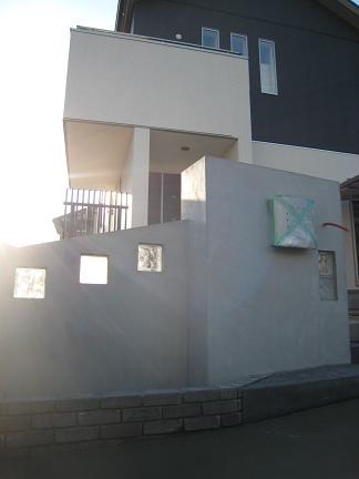 塗壁施工前のガラスブロック