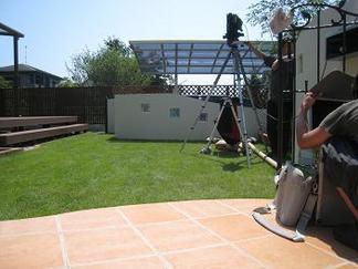 お庭をカメラに収めます