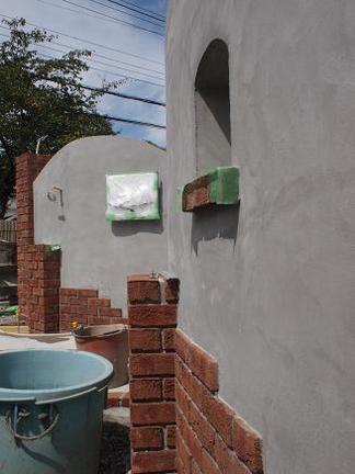 塗り壁門柱の下地