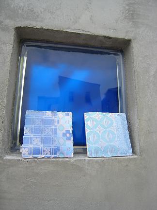 外壁のガラスブロックとのコラボ