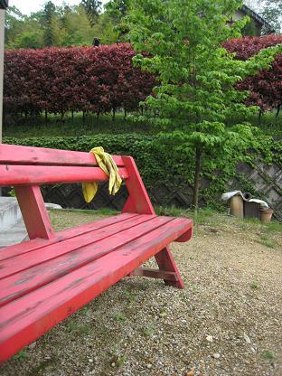 真っ赤なベンチ