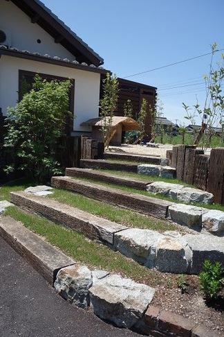 枕木造りの階段