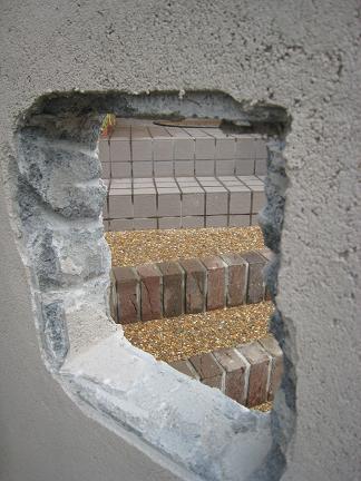 門柱のくり抜き穴部分