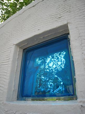 ガラスブロック越しのシマトネリコ