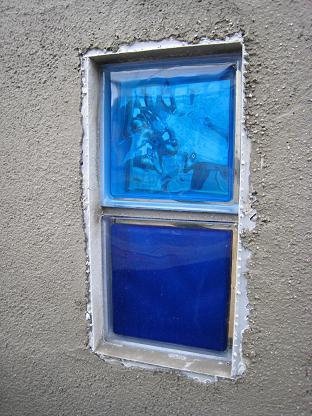 青色のガラスブロック