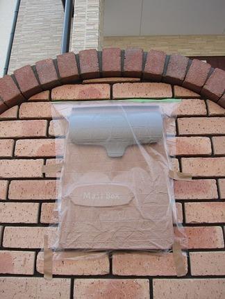 レンガタイル貼りの門柱