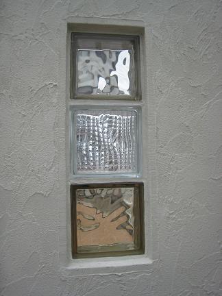 クリアー&ブラウンのガラスブロック