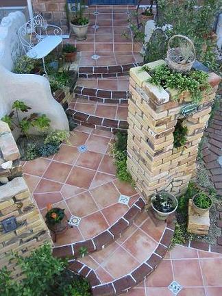 メキシコタイルの階段