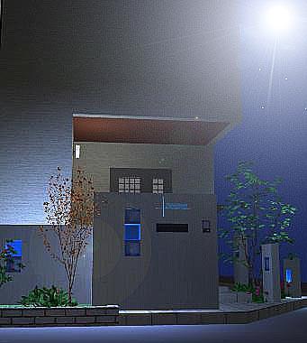 夜の門柱を眺めて