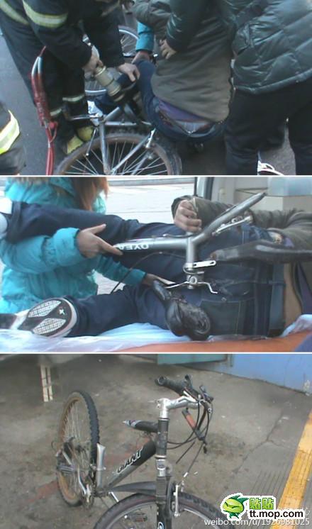 【画像】これは痛い、中国で走行中の自転車のサドルが外れフレームが肛門に