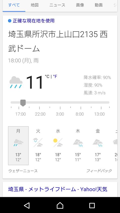 今日の西武ドームの気温wwww