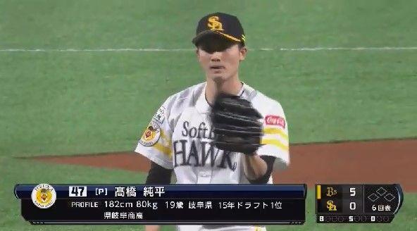 ソフトバンク・高橋純平、プロ初登板もいきなりT-岡田にホームランを打たれる・・・