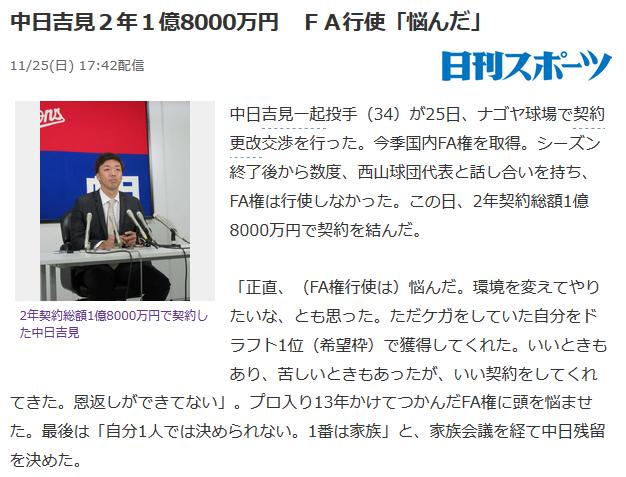 中日吉見2年1億8000万円ww
