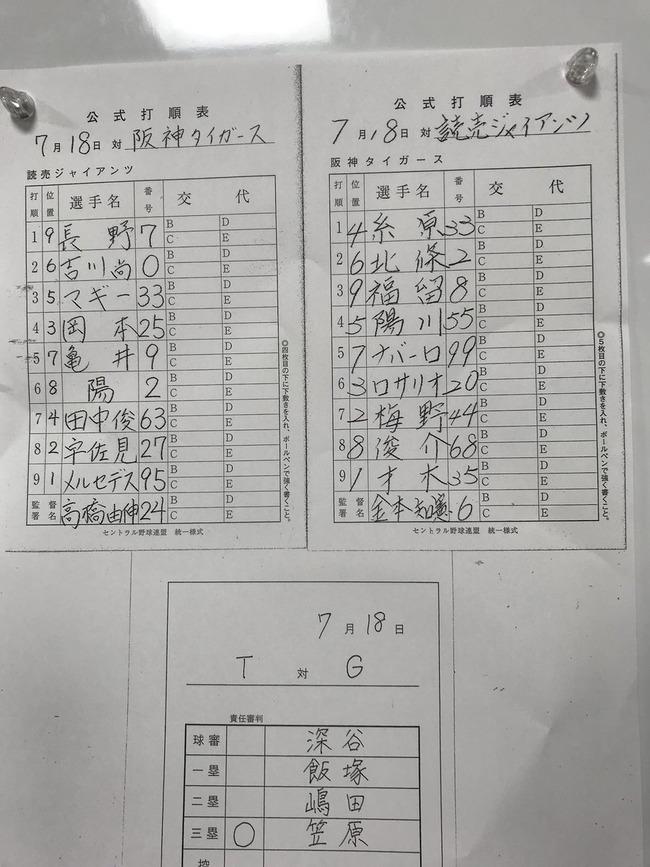 【阪神対巨人15回戦】6 (一) ロサリオ
