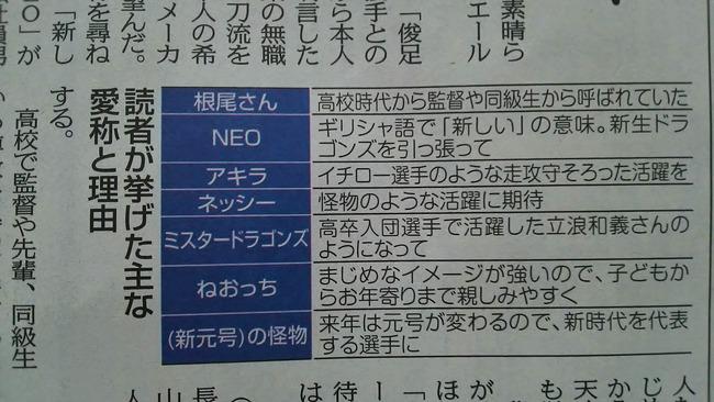 【朗報】中日新聞読者、根尾昂のニックネームを決める