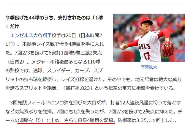 【朗報】大谷のスプリット、被打率.023  チームの連勝を「5」で止める原動力に【誤植ネタ】