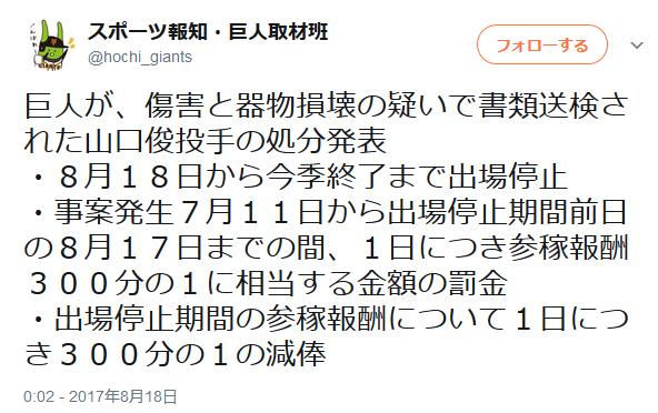 山口俊さん、今季終了まで出場停止