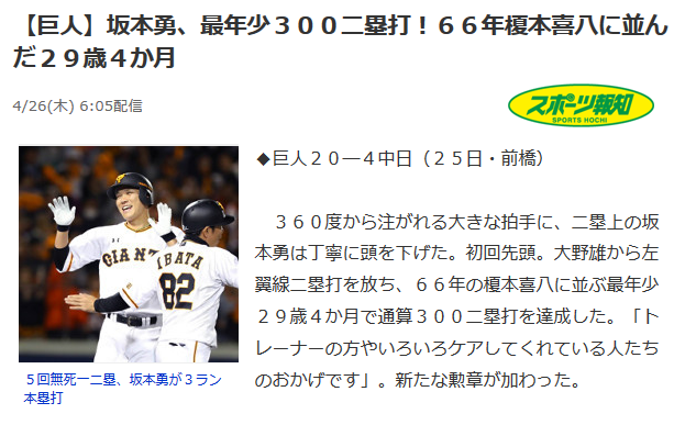 坂本が「20代〇〇達成」「史上最速〇〇タイ」を達成する度に名前が出てくる榎本喜八とかいう謎の古い選手