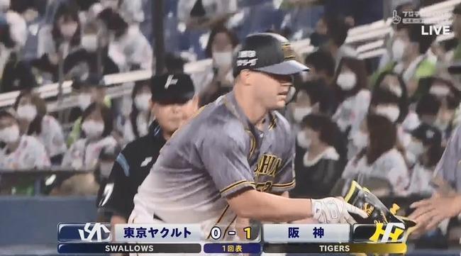 【ヤクルト対阪神18回戦】阪神、初回にサンズのタイムリーで1点先制!!!!!!!!!