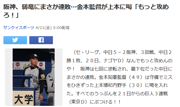 【サンスポ】阪神、弱竜にまさか連敗…金本監督が上本に喝「もっと攻めろ!」