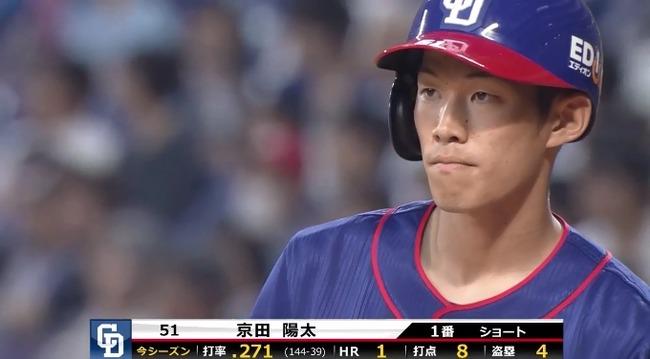 【中日】京田陽太(23)打率.269(145-39) 1HR 9打点 4盗塁 OPS.643