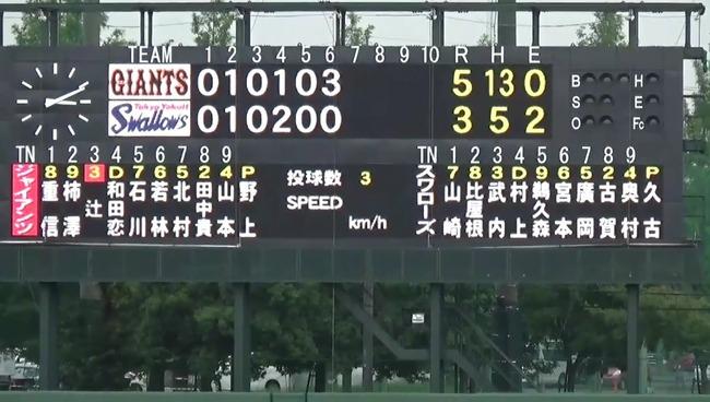 巨人・野上さん2軍で6回3失点の好投