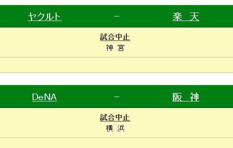 ヤクルト対楽天戦、DeNA対阪神戦中止・・・