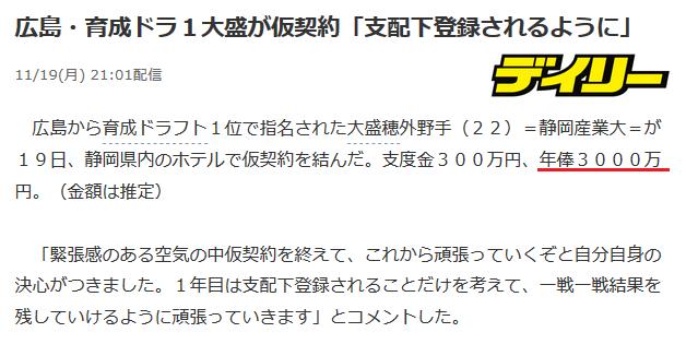 【誤植ネタ】広島・育成ドラ1大盛、支度金300万円、年俸3000万円で仮契約