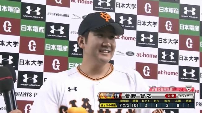 菅野智之 20試合 149.1回 13勝5敗 防御率1.87