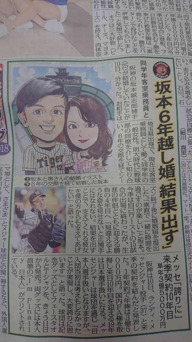 阪神・坂本誠志郎結婚