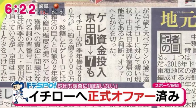 【背番号変更】中日京田 51→7も