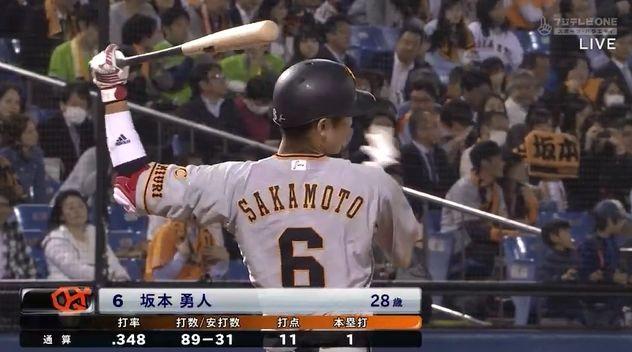 坂本勇人 .344 1本 11打点 4盗塁 出塁率.384 長打率.456 OPS.839