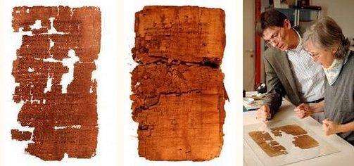 左:断片をつなぎ合わせた「ユダの福音書」写本の序章部分、中:復元作業開始前の「ユダの福音書」のパピルス写本、 右:パピルス写本の断片をつなぎ合わせ、解読作業に挑む学者たち = ナショナル・ジオグラフィック協会提供